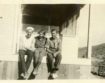 "Vintage Photo ""Sibling Smiles"" Best Friend Snapshot Photo Old Antique Black & White Photograph Found Photo Paper Ephemera Vernacular - 149"