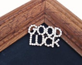 Vintage Crystal Brooch / Good Luck Rhinestone Pin / Bon Voyage Gift / Bridal Bouquet Brooch Statement Pin