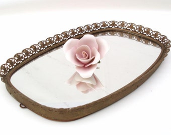Vintage Mirror Vanity Tray, Mirrored Perfume Tray, Brass Mirror Tray, Pineapple Decor, Gold Filigree