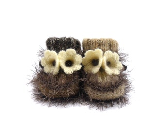 Hand Knitted Baby Booties with Bell Flowers - Brown, 3 - 9 months