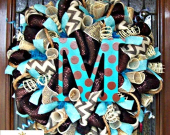 Brown and Turquoise Chevron Burlap Wreath with letter of choice