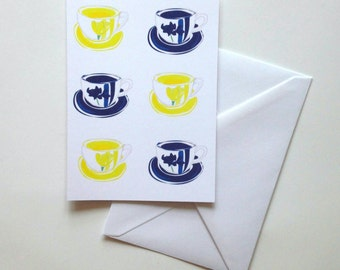 Teacups greeting card notecard
