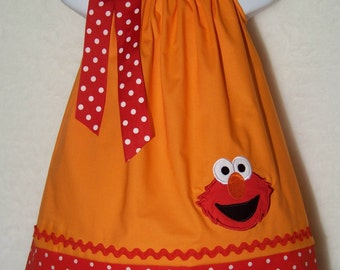 Elmo Pillowcase Dress / Sesame Street / Big Bird / Orange / Red Dots / Newborn / Infant / Baby / Girl / Toddler / Custom Boutique Clothing