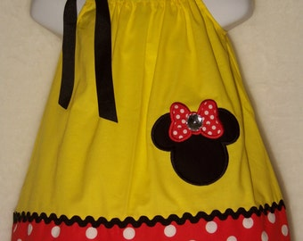 Minnie Mouse Pillowcase Dress / Mickey/ Disney / Yellow / Red / Black / Newborn / Infant / Baby / Girl / Toddler / Custom Boutique Clothing