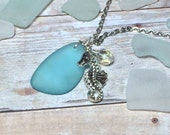 Aquamarine Sea Glass Seahorse Necklace Women's Necklace Gift Idea Beach Jewelry Mom Girlfriend Friend Sister