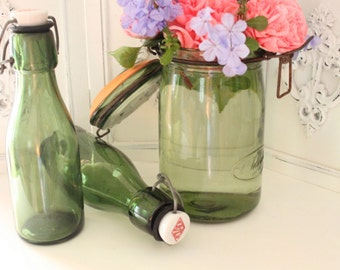 Vintage French Green Glass Beer Bottle with Ceramic Lid and Rubber Stopper - FREE DOMESTIC SHIPPING