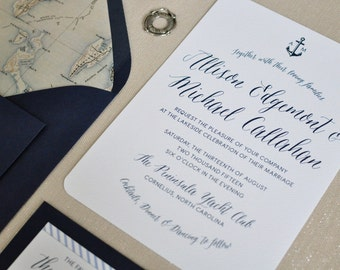 Nautical Wedding Invitation - Navy Wedding Invitation - Nautical Invitation - Nautical Wedding - Seaside Wedding Invite