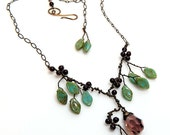Green and Burgundy Statement Necklace, Burgundy Bridal Necklace, Boho Necklace, Leaf Bib Necklace with Crystal Pendant, Fairy Necklace,