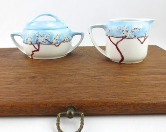 Rosenthal Donatello Cream and Sugar Set /// Spring Blossoms Hand Painted 1920's Rosenthal Selb Bavaria