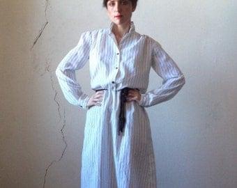 90s pinstripe shirt dress/ tie belt/ m