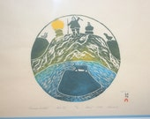 Vintage Ashoona Pitseolak Stone Cut Inuit Print, Summer Twighlight 1974, Antique Alchemy