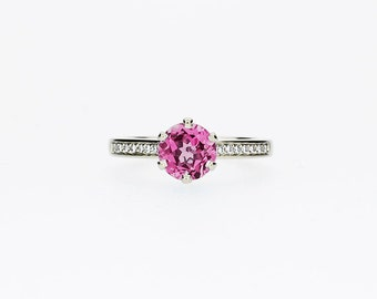 Pink tourmaline ring, diamond, White gold, Engagement ring, solitaire, Pink engagement, Micro pave, Diamond engagement, nickel free, pink