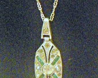 1920's Rhodium Pendant and Paperclip Chain with Emerald and Clear Paste Rhinestone Jewels