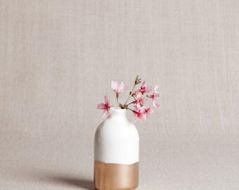 Ready to Ship : White + Gold Minimalist Bud Vase