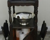 Vintage Wood Side Table. Telephone Magazine Stand. Distressed  Furniture. Small Space. Shabby Chic Cottage Decor