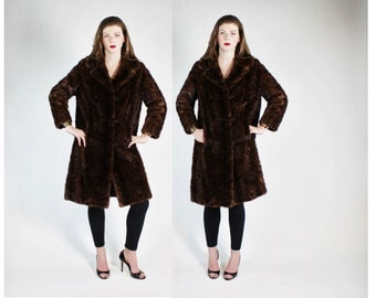 1960s Brown Mink Fur Mod Swing Coat w Bakelite Buttons