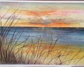 Sunset  Ocean beach landscape scene watercolor card ( Item -LS26)