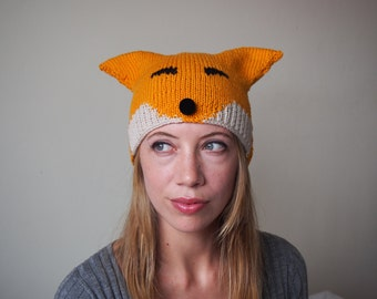 fox hat pattern - pdf knitted animal hat pattern with ears - kids and adults - sizes toddler, child and adult