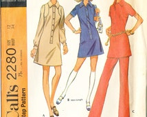 "Vintage McCall's 2280 Shirtwaist Dress Pattern Bust 34"" Misses' Size 12"