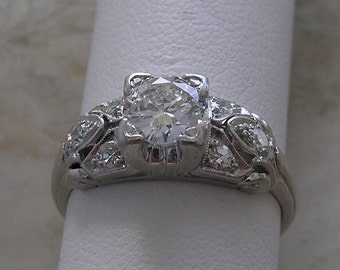 Vintage Platinum Diamond Engagement Ring Circa 1950 Mid Twentieth Century