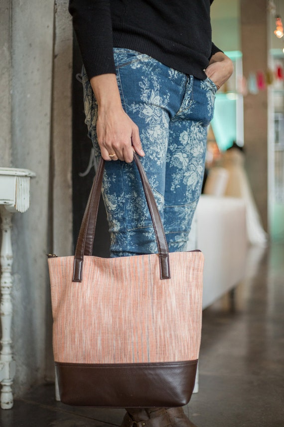 Women S Tote Bag Handspun Cotton Blend With Leather Peach