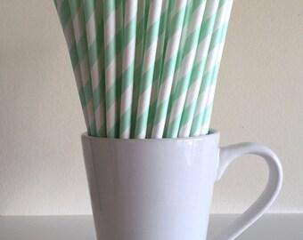 Mint Green Striped Paper Straws Mint Party Supplies Party Decor Bar Cart Cake Pop Sticks Mason Jar Straws  Party Graduation