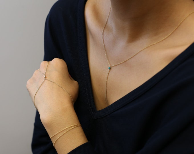 Multifunctional jewelry// Gem stone lariat necklace & hand chain // Double wrap hand chain - Gold filled or Sterling Silver   EL017