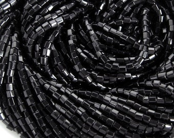 11/0 2 Cut Jet / Black Opaque Czech Glass Seed Beads - Available In 1/2-1-4-8-12 Hank Qtys - 1.9 mm Hex  Beads.