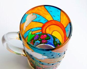 Coffee Mug Gift, Morning Mug Sunrise, Sun Art Hand Painted Tea Mug
