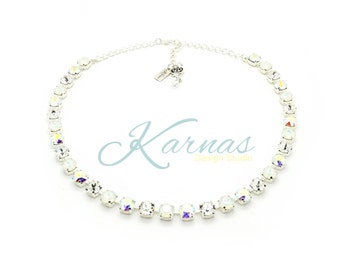 MY SPECIAL DAY 8mm Crystal Chaton Necklace Swarovski Elements *Pick Your Finish *Karnas Design Studio™ *Free Shipping* Great Bridal Jewelry