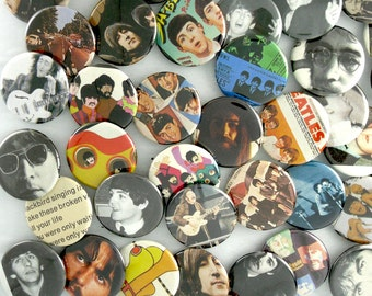 The Beatles Buttons - One of a Kind Pins - Fab Four Grab Bag Badges -