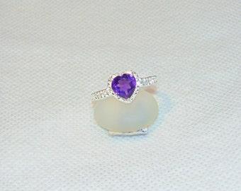 Amethyst Heart Size 8 Sterling Silver Ring