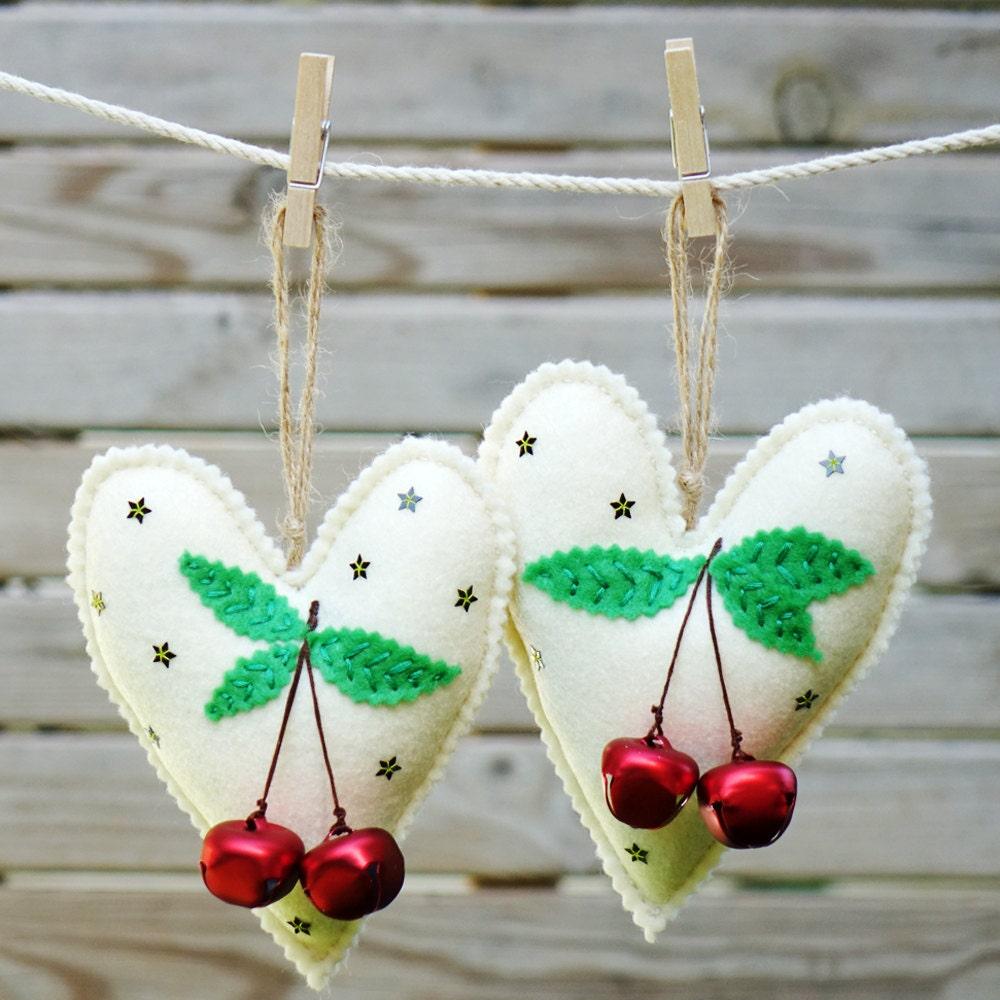 Felt christmas heart ornaments set of