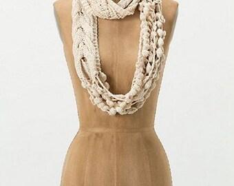 Knit&Crochet Pattern - Boho Chic Infinity Scarf / Cowl/ Skinny Scarf/Crochet Necklace/ Chunky Necklace