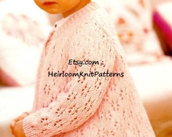 Girls Lacy Cardigan Knitting Pattern 18-26'' 3M-6Yrs DK/ 8ply Girls Cardigan Pattern Instant Download PDF - 675