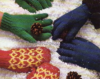 Vintage childs / childrens gloves mitts knitting pattern PDF fair isle mittens 2-7 years Gloves 8 -13 years DK gloves PDF instant download