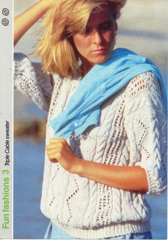 womens cotton cable sweater knitting pattern 87-92 cm DK