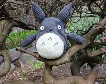 Crochet Totoro Plush Stuffed Totoro Amigurumi Totoro Stuffed Animal Anime Studio Ghibli Grey Animal Plush
