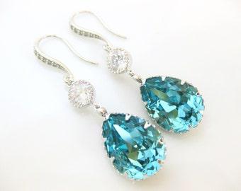 Teal Blue Earrings Swarovski Crystal Light Turquoise Earrings Blue Earrings Wedding Earrings Bridal Earrings Bridesmaid Gift (E134)