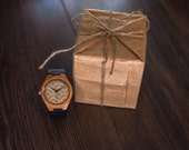 Wood Hand Watch with Genuine Leather band Natural Wooden Bamboo Wristwatch, by WOODEER, designed in Europe