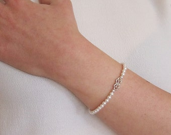 Pearl Wedding Bracelet, Silver Bracelet with Swarovski Pearls