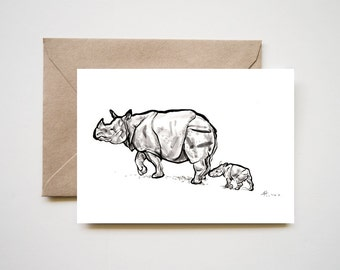 One Horn Rhino Mom and Baby, Original Sumi-e Painting Print, Ink Drawing Family Love Animal Illustration Zen