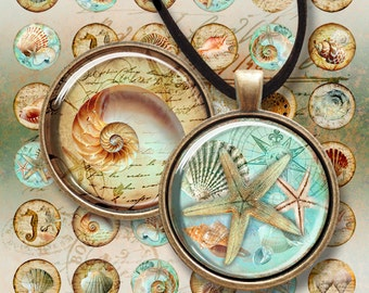 1 inch (25mm) circle Images NAUTILUS Printable download Digital Collage Sheet for glass or resin Pendants cabochon bezel trays bottlecaps