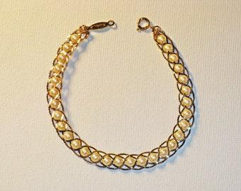 Vintage Napier Gold Tone Faux Pearl Braided Chain Bracelet (BR-2-3)