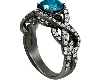 Unique Blue Diamond Engagement Ring, Wedding Ring 14K Black Gold Vintage Style 1.90 Carat Certified Handmade