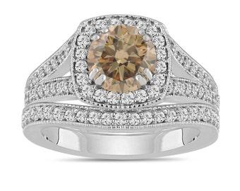 Fancy Champagne Brown Diamond Wedding Ring Set, Engagement Ring Set 1.80 Carat 14K White Gold Bridal Ring Sets