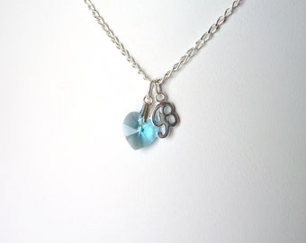 Initial Birthstone Necklace, March Birthstone Necklace, Aquamarine Necklace, Sterling Silver Necklace, Gift for Teen Girls, March Birthday