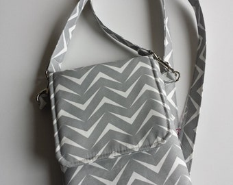 Cell Phone Purse, Cross Body Shoulder Bag, Pouch Case, Fits iPhone 5 and 6 Plus, Galaxy s4, s5, & more, Grey and White Chevron
