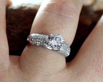 FB Forever Brilliant Moissanite Engagement Ring Diamond Pave 5 row Hebe Round .75ct 6mm Custom White-Yellow-Rose Gold-10k-14k-18k-Platinum