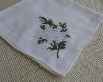 White Rose Ladies Handkerchief / Rose Wedding Hankie / Embroidered Hankie / Gift for Her / Bridal Gift / White Wedding Hanky / Pocket Hankie